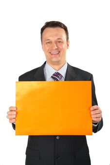 Free Businessman With Orange Leaf Of Paper Stock Images - 5830654