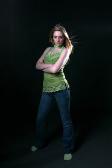 Free Young Woman In Green Royalty Free Stock Photography - 5831197