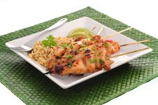 Free Chicken Skewers And Rice Stock Photos - 5831663
