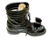 Soldier S Shoe Should To Shine Stock Photography