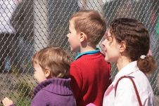 Free Mother And Children Look Through  Lattice Royalty Free Stock Images - 5833149