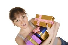 Happy Girl With Gifts Royalty Free Stock Photo
