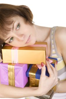 Free Sad Girl With Gifts Stock Photography - 5833422