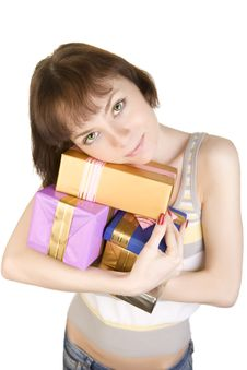 Free Girl With Gifts Stock Photo - 5833500