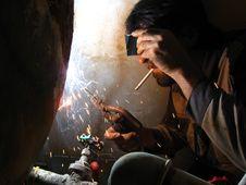 Free Smoking Welder Stock Image - 5834191