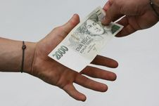 Free Two Hands With Money Stock Photography - 5835532