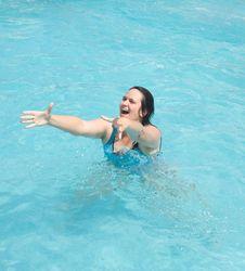 Joyful Woman In The Water Stock Photography