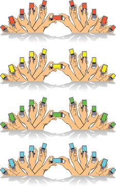 Free Hands Mobile Color Screens Stock Image - 5836901