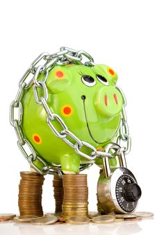 Free Piggy Bank Locked In Chain Stock Photos - 5837113