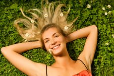 Free Girl Relaxing On A Meadow Stock Photography - 5837662