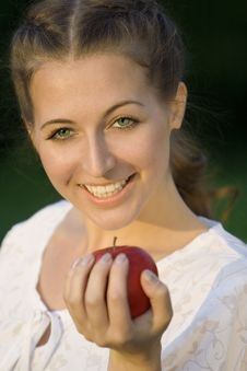 Free Woman With Apple Stock Image - 5839071