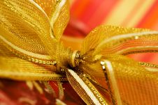 Free Red Gift Box With Golden Ribbon Stock Photography - 5839602