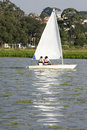 Free Man And Woman Sailing In Sailboat - Vertical Stock Photos - 5842423
