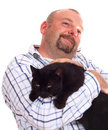Free Man Holds Black Cat In Hands Royalty Free Stock Photos - 5849068