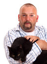 Free Man Holds Black Cat In Hands Stock Images - 5849094
