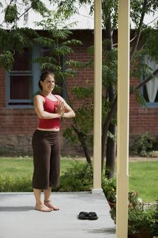 Yoga On The Porch Royalty Free Stock Images