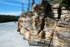 Free Downstream Of Athabasca Fall Stock Image - 5841821