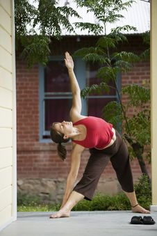 Yoga On The Porch Royalty Free Stock Photography