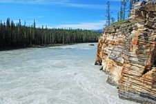 Free Downstream Of Athabasca Fall Royalty Free Stock Photography - 5841837
