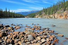 Free Downstream Of Athabasca Falls Royalty Free Stock Images - 5841889