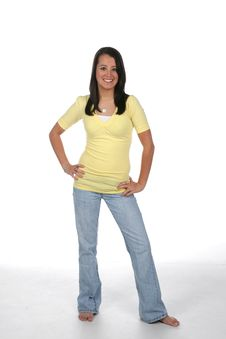 Free Pretty Teen In Yellow Royalty Free Stock Image - 5841906