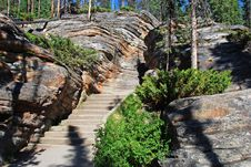 Free Stairs From The Upstream Of Athabasca Falls Stock Photo - 5841910