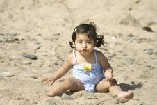 Free Funny Face Girl At The Beach Stock Photo - 5842070