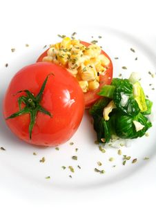 Tomato Stuffed With Corn Royalty Free Stock Photo