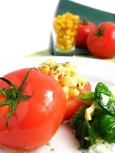 Tomato Stuffed With Corn Royalty Free Stock Photos