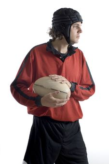 Holding Onto Rugby Ball - Vertical Stock Photography