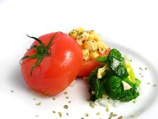 Tomato Stuffed With Corn Royalty Free Stock Photography