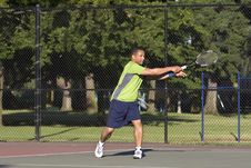 Free Man On Tennis Court Playing Tennis Royalty Free Stock Photography - 5842477