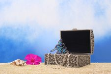 Free Jewelry Box On Beach Royalty Free Stock Image - 5843826