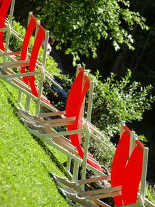 Free Red Deck Chairs Stock Photography - 5843972