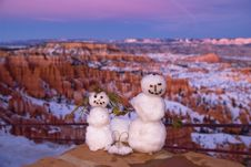 Snowmans Wedding In Bryce Canyon Royalty Free Stock Images