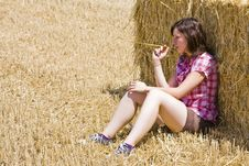 Free Young Woman In Haystack Stock Image - 5844751