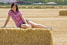 Free Young Woman In Haystack Stock Photography - 5844832