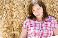 Free Young Woman In Haystack Royalty Free Stock Photography - 5844897