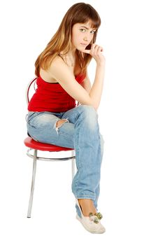 Free Pretty Girl Posing Sitting On A Chair Stock Photo - 5845340