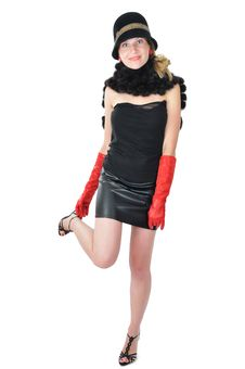 Free Retro Woman Adjast Her Sandal Royalty Free Stock Image - 5845476