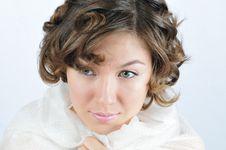 Free Beauty Girl Muffled In White Shawl Stock Photos - 5845713