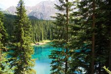 Green Pines Top & Turquoise Lake Stock Photos