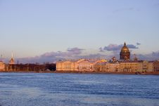 Neva River And Isaak Cathedral Royalty Free Stock Photography