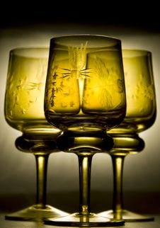 Free Three Beautiful Wine Glasses Stock Photography - 5846292