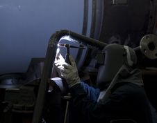 Free Welder Working On Steel Pipes Stock Image - 5846451
