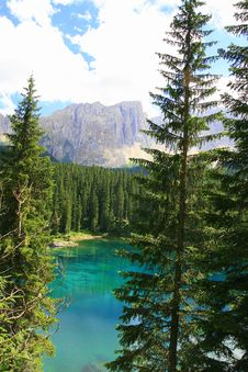 Sella Mountain, Carezza Turquoise Lake, Italy Stock Photos