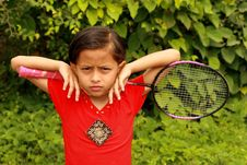 Free Child With Racket Royalty Free Stock Photo - 5848015