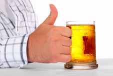 Free Beer In Man Hand Stock Image - 5849121