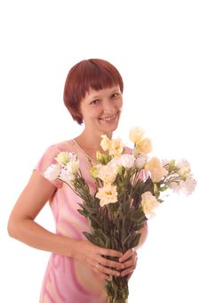 Free Red-haired Girl With Flowers Royalty Free Stock Photo - 5849485