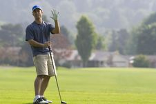 Free Golfer Holding Hand In The Air On - Horizontal Stock Photos - 5849503